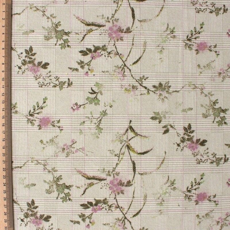Cotton fabric with beige squares and pink flowers