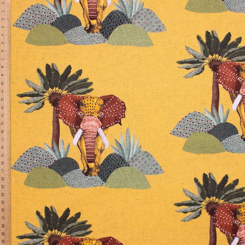 Fabric in cotton and linen with elephants - mustard yellow