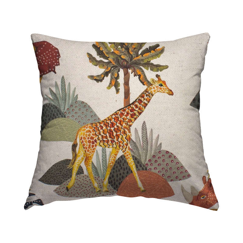 Fabric in cotton and linen with animals - ecru