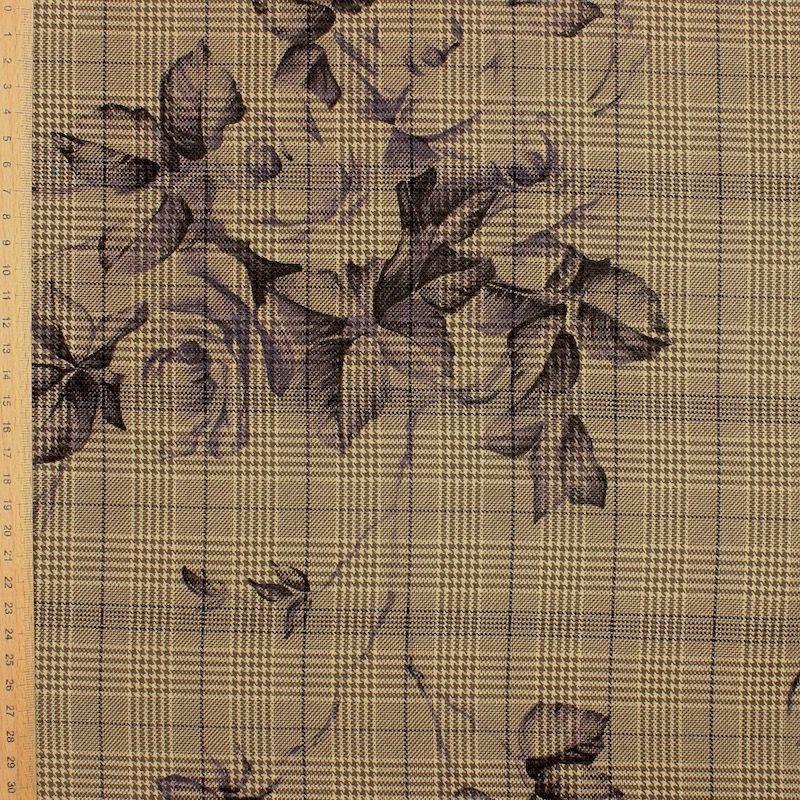 Tissu  carreaux et fleurs- beige