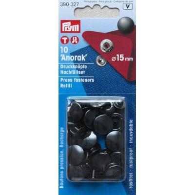 Zwarte Anorak drukknopen 15mm Prym