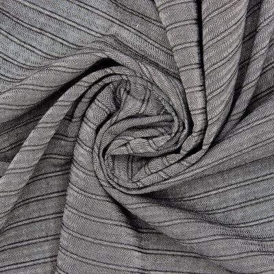 Striped fabric in cotton and viscose - grey