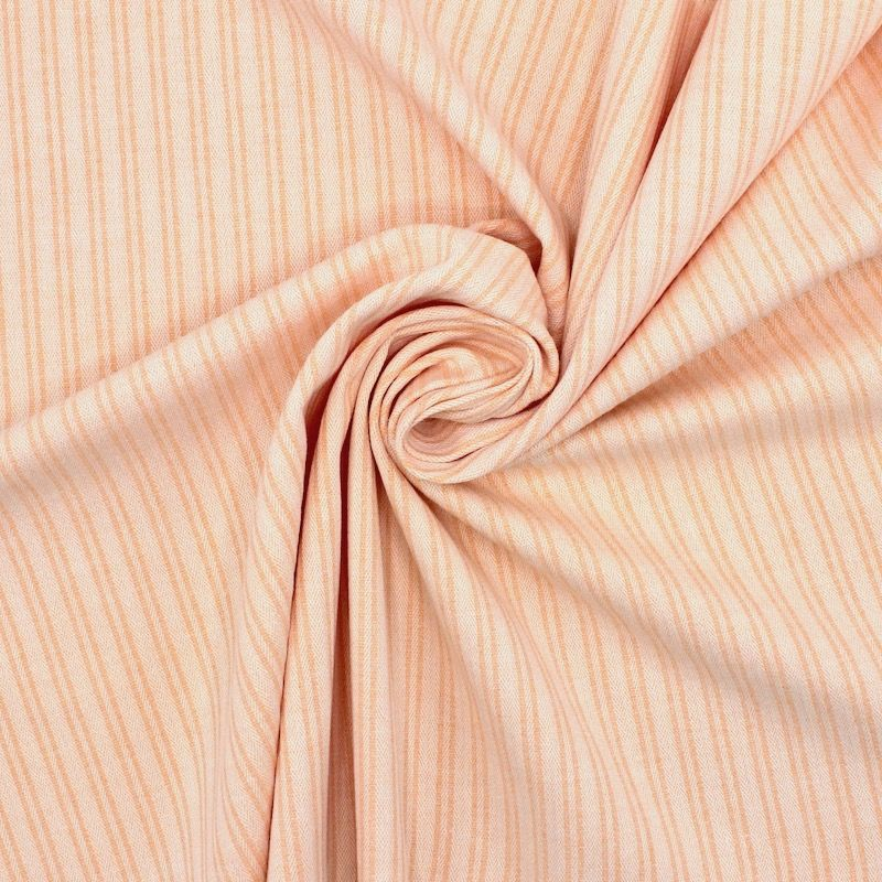 Striped extensible fabric with herringbone pattern - salmon
