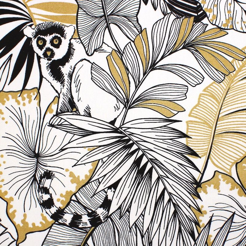Cotton with golden print - off-white