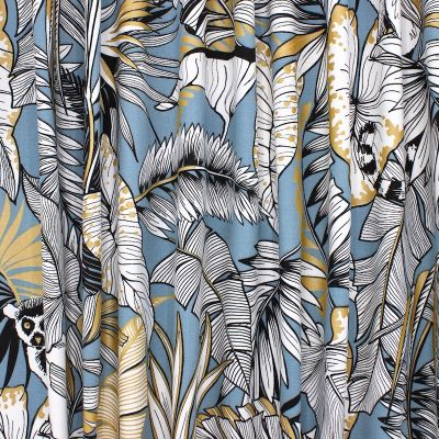 Cotton with golden print - blue
