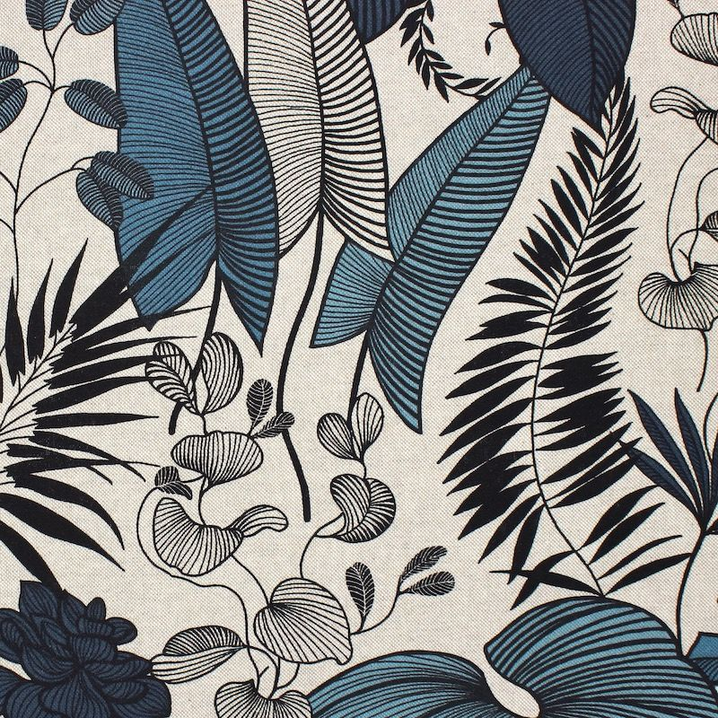 Fabric in cotton and polyester with foliage - blue