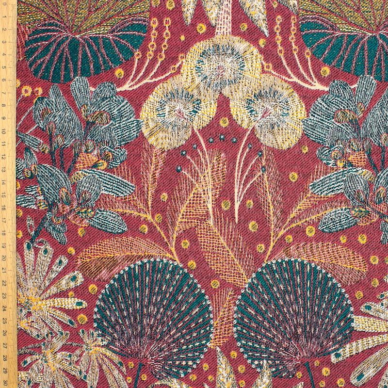 Jacquard fabric with foliage - red