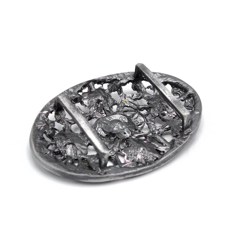 Boucles de ceinture métal fleurs- argenté/rose