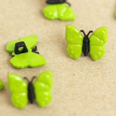 Bouton papillon en résine vert