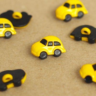 Bouton voiture en résine jaune