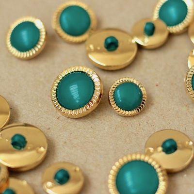 Boutons aspect métal doré et turquoise foncé