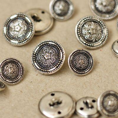 Boutons fantaisie en métal argenté