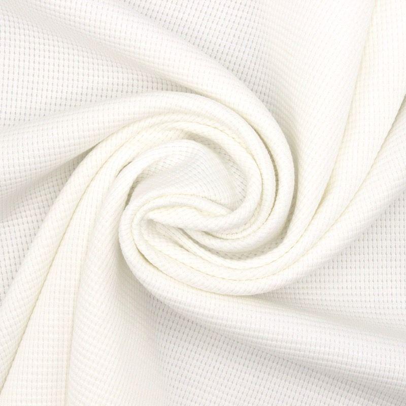 Tissu jersey tricot gaufré - blanc