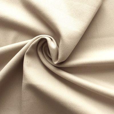 Tissu en coton sergé uni beige