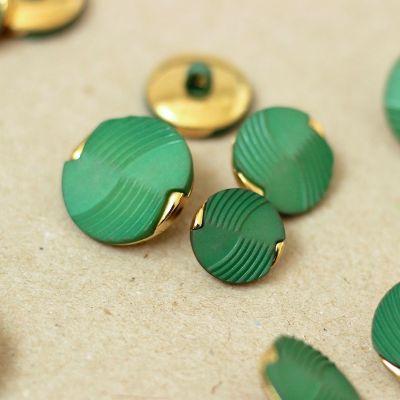 Vintage knoop - groen en goud