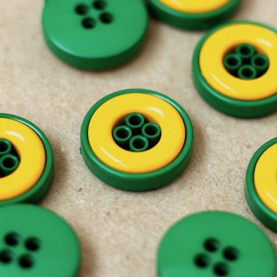 Ronde knoop - groen en geel
