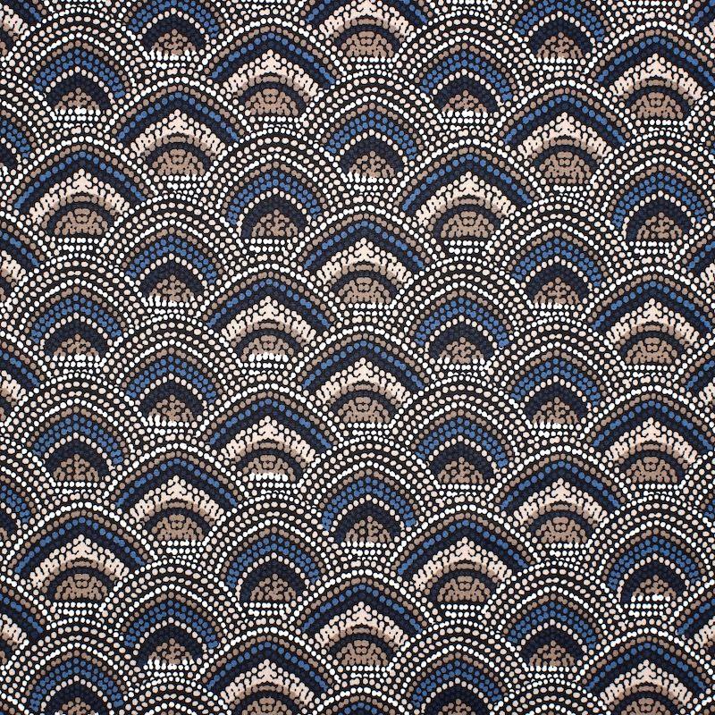 Coton enduit imprimé bleu et beige