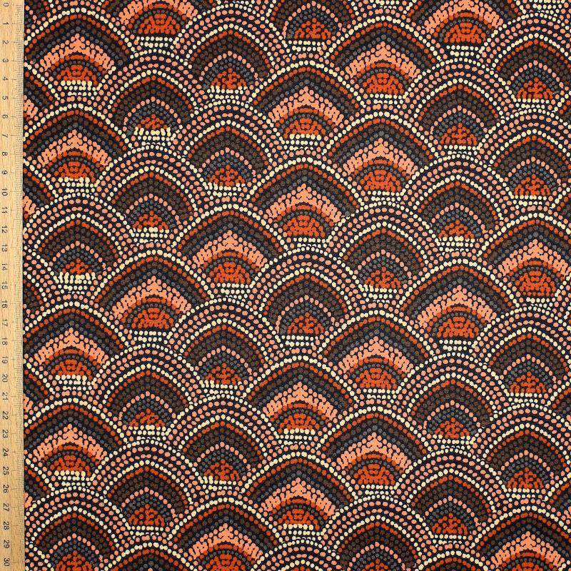 Coton enduit imprimé marsala et rouille