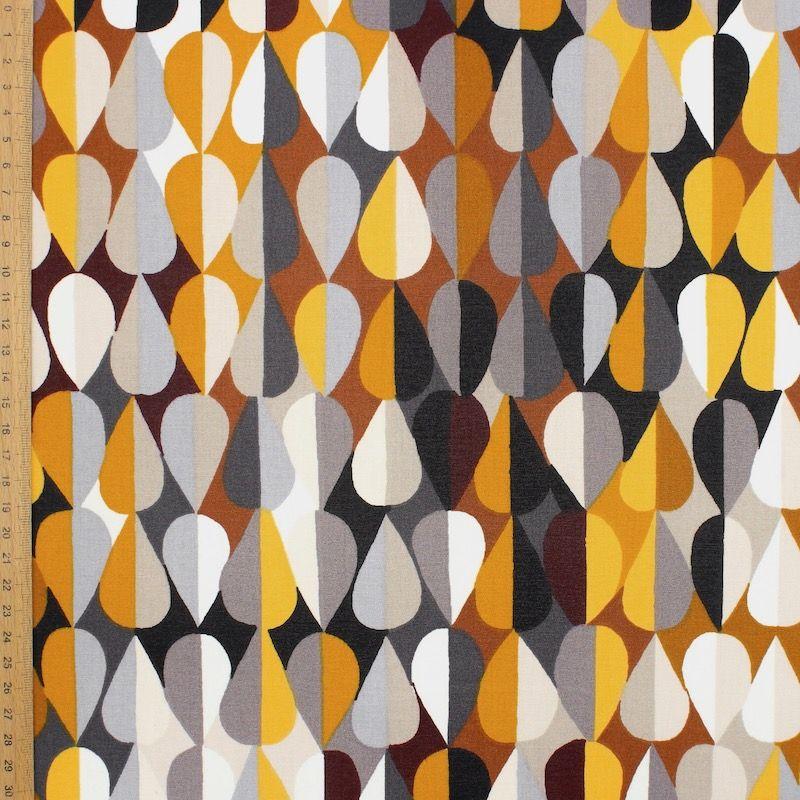 Coton enduit imprimé ocre et brun