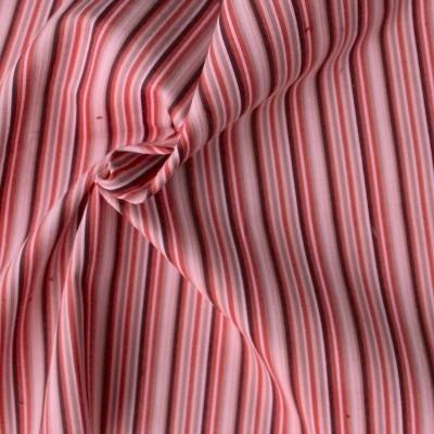 Tissu velours en coton et élasthanne à lignes roses