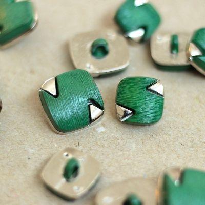 Bouton vintage vert et argenté
