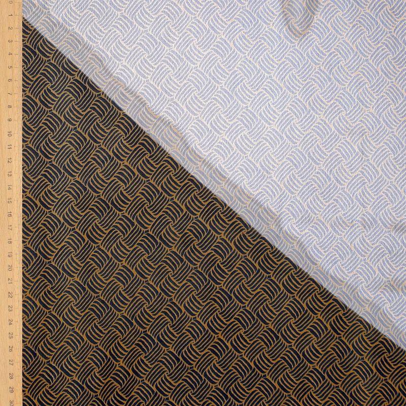 Tissu voile imprimé - noir et moutarde