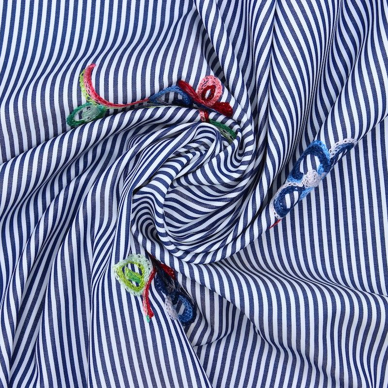Tissu coton rayé brodé - bleu
