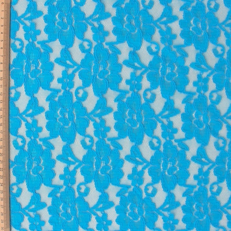 Tissu en dentelle extensible bleu turquoise - Tissus bleu turquoise ...