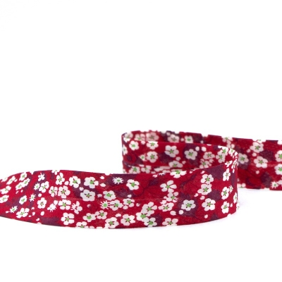 Bias binding with flowers - red
