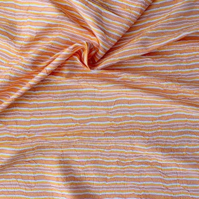 Beige polyester fabric with lines