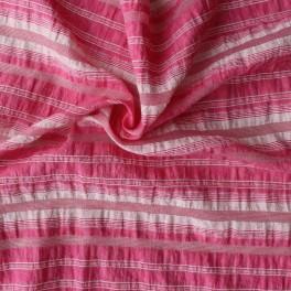 Tissu en coton et polyamide à lignes bleu, rose, orange et vert