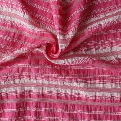 Tissu en coton et polyamide à lignes roses