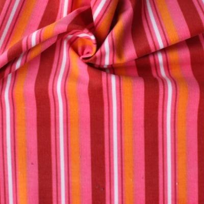Tissu velours en coton et élasthanne à lignes rose et orange