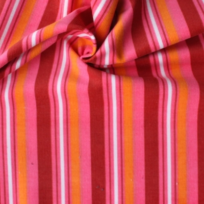 Velvet fabric in cotton with red and orange lines