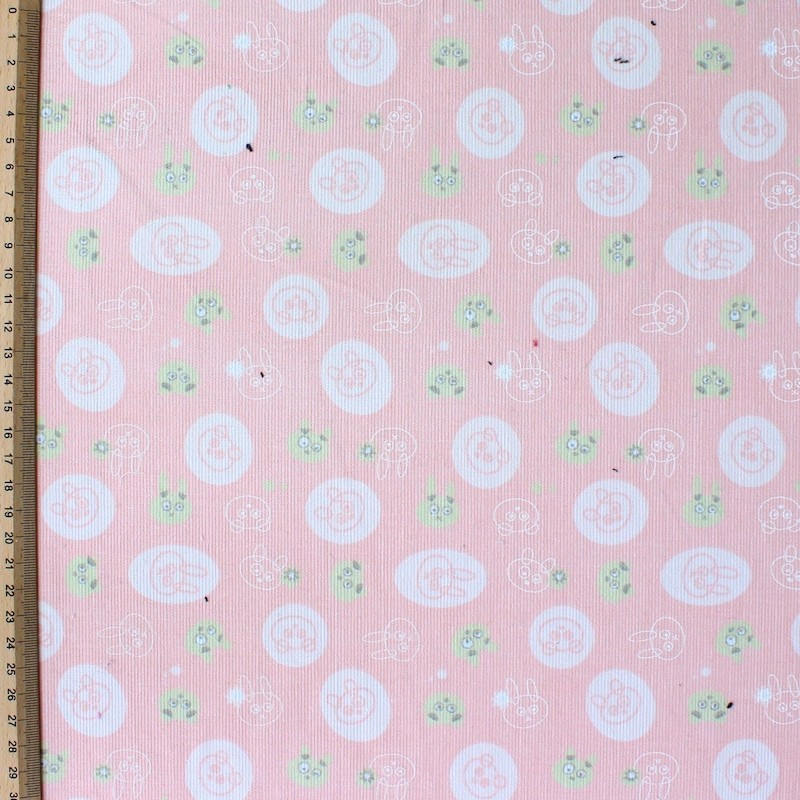 Tissu velours en coton lapins sur fond rose