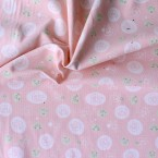 Velvet cotton fabric with rabbits on pink bakground