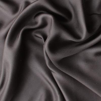 Twill de soie uni brun brillant