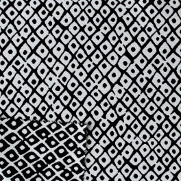 Cotton and polyester recto verso fabric with black geometric design on white background