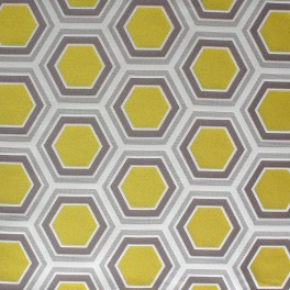 Polyester fabric with yellow, grey and beige geometric design