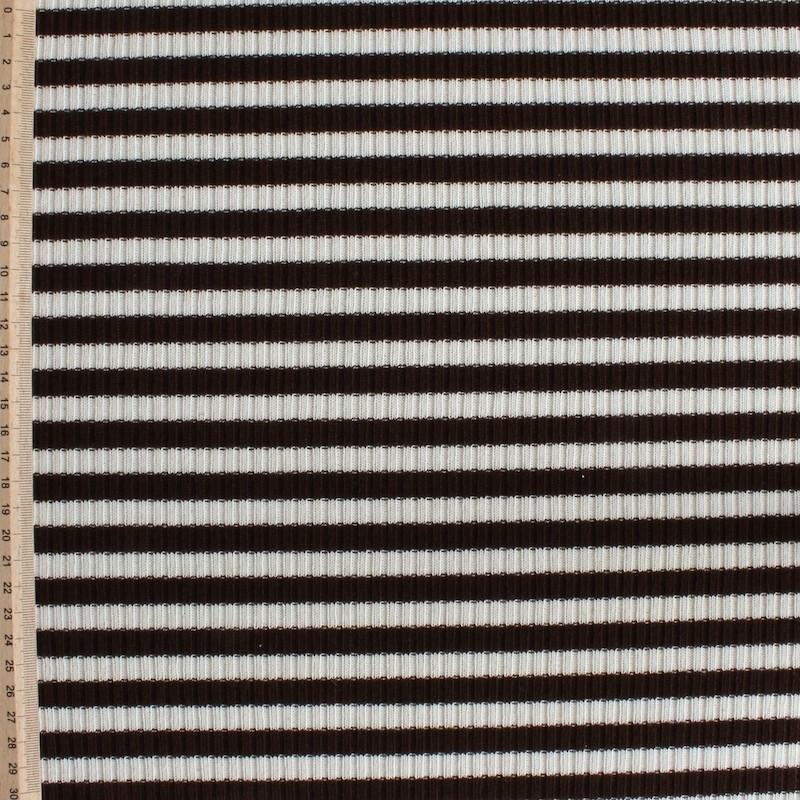 Maille en polyester et élasthanne à lignes beige et brunes