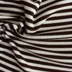 Gebreide polyester en elastaan met beige en bruine strepen