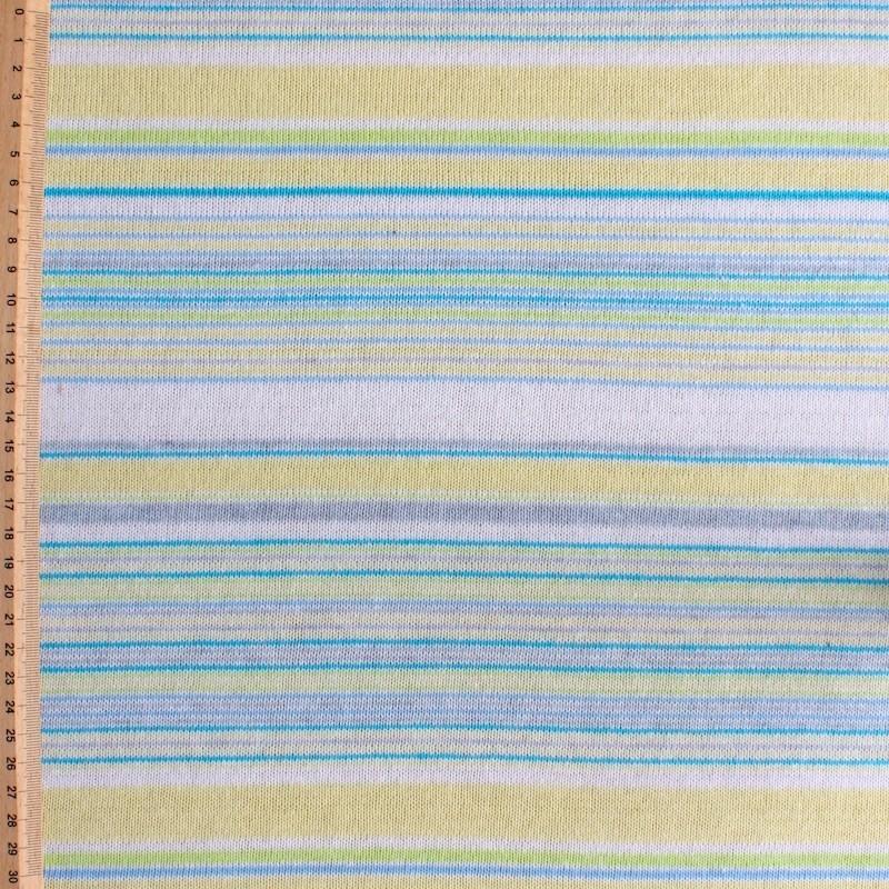 Tissu en maille légère à lignes bleu, jaune, vert et blanc