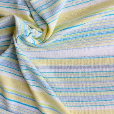 Blue, green, yellow and white lines knitwear