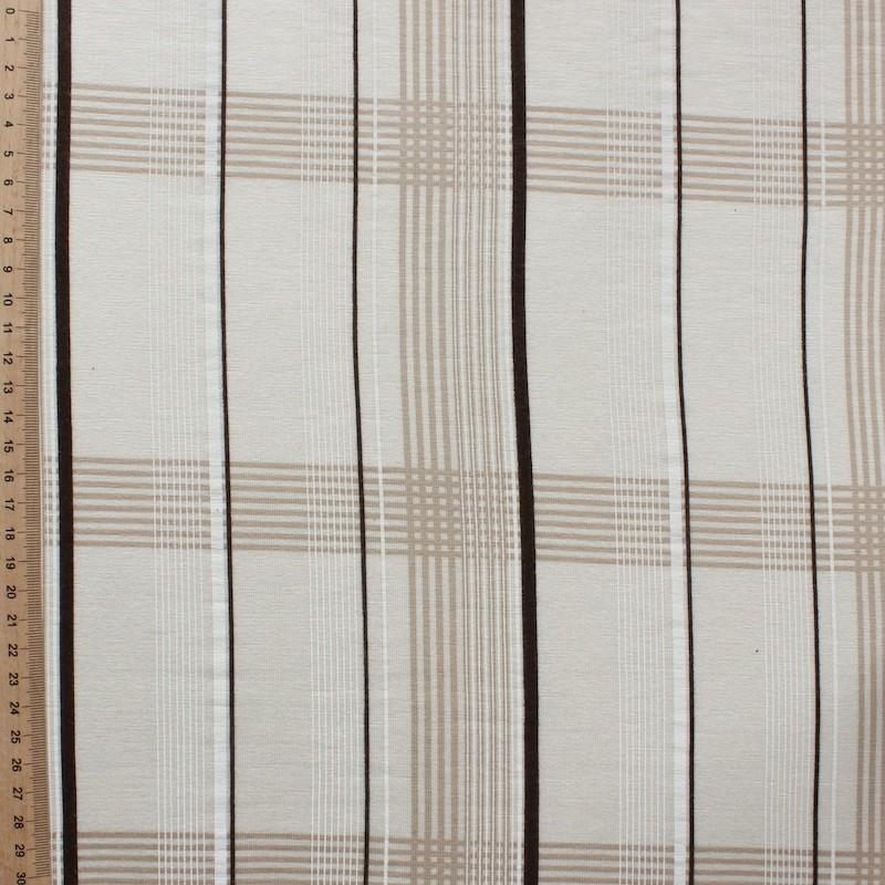Jersey stof in viscose en elastaan met beige ruiten