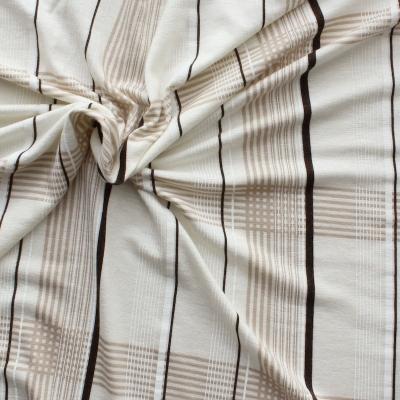 Tissu en viscose et élasthanne à carreaux beiges