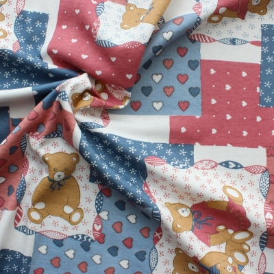 Jersey cotton and polyester fabric with Beige teddybears on blue, red and white background