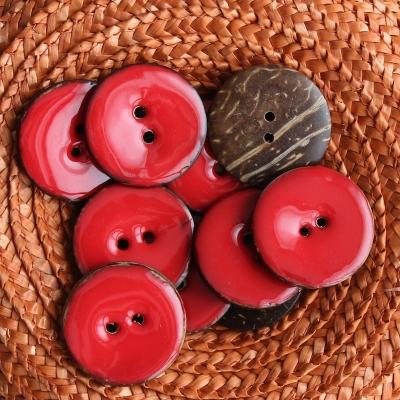 Bouton en coco uni rouge 3 cm