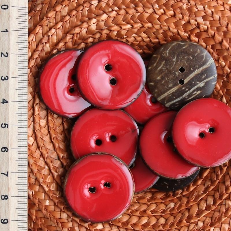Rode Koko Knoop 3 cm