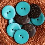 Bouton en coco uni bleu turquoise 3 cm