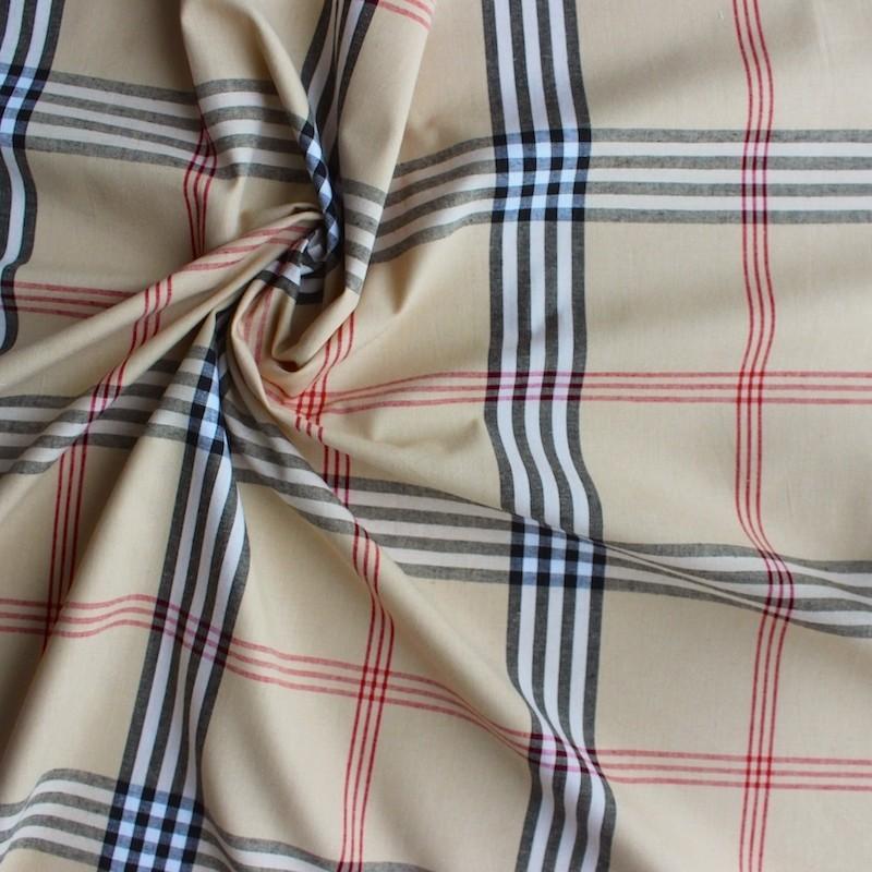 tissu en coton carreaux noir et rouge sur fond beige. Black Bedroom Furniture Sets. Home Design Ideas